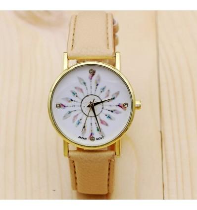 Watch woman Bohemian-style pattern Peacock Feathers - bracelet beige