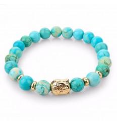 Bracciale Turchese naturale + perla del Buddha d'oro. Spedizione gratuita.