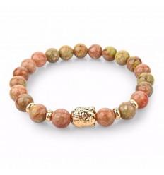 Bracelet en Unakite naturelle + perle Bouddha dorée