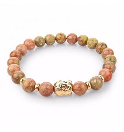 Unakite Braccialetto naturale + perla del Buddha d'oro. Spedizione gratuita.