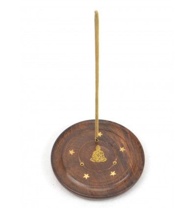 Incense holders in wood for the rods and cones - pattern Buddha