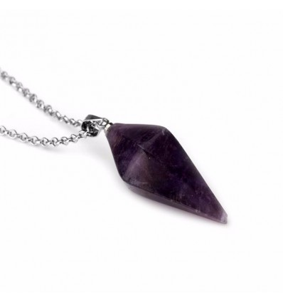 Chain with pendant Amethyst natural style pendulum. Anti-stress and soothing.