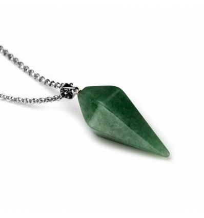 Necklace with pendant in Aventurine natural style pendulum. Well-being, and creativity.