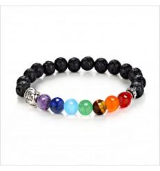Bracelet 7 chakra, stone of lava, and 7-precious stones.
