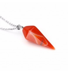 Necklace with Agate pendant natural style pendulum. Luck, inner Peace.