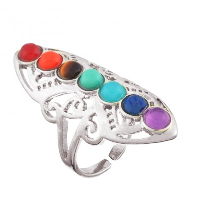 Ring adjustable 7 chakras 7-precious stones.