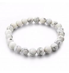 Bracelet Lithothérapie en Howlite naturelle. Ancrage, relaxation, méditation.