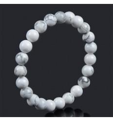 Bracelet Lithothérapie en Howlite naturelle -Ancrage, relaxation, méditation.