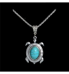 Necklace ethnic pendant Turtle turquoise. Free shipping !