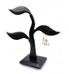 Tree earrings - solid wood black