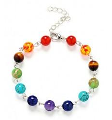 Bracelet 7 chakras, silver metal, and 7-precious stones.