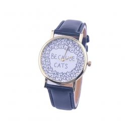 """Montre fantaisie """"Because cats"""" - bracelet similicuir noir. Livraison gratuite !"""