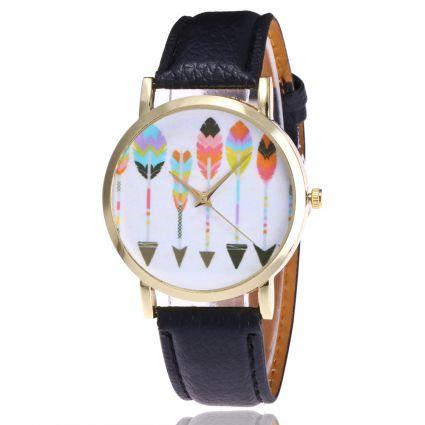 Orologio donna di fantasia pattern-Frecce - bracciale in similpelle. Spedizione gratuita !