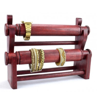 Rangement pour monres et bracelets, original pas cher en bois rouge.