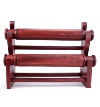 Door-bracelets and watches / Display shelf for jewelry 2 rods, solid wood red finish