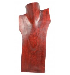 Bust inclined, display necklaces in solid wood red H30cm