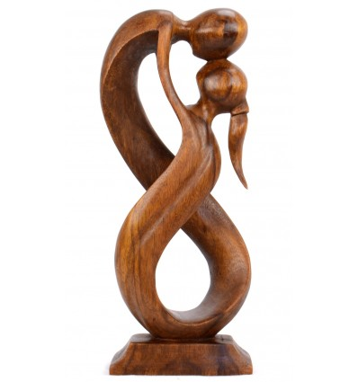 Statue abstraite couple Union Infinie h20cm en bois teinte marron