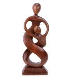 Abstract Statua Unione h30cm legno massello intagliato a mano Marrone