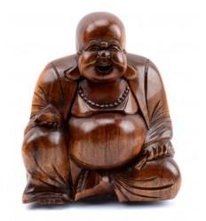 Una Statuetta di Buddha cinese in legno intagliato H11cm