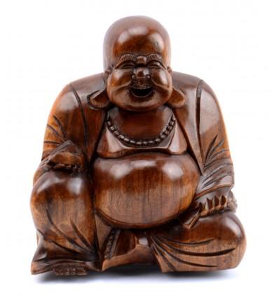 Statuetta di Buddha cinese felice di buddha in legno a buon mercato.