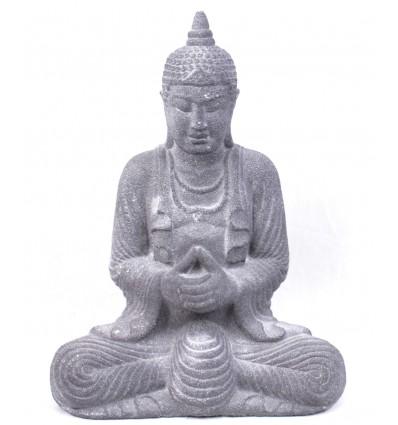 Statue Bouddha en pierre grise, décoration asiatique.