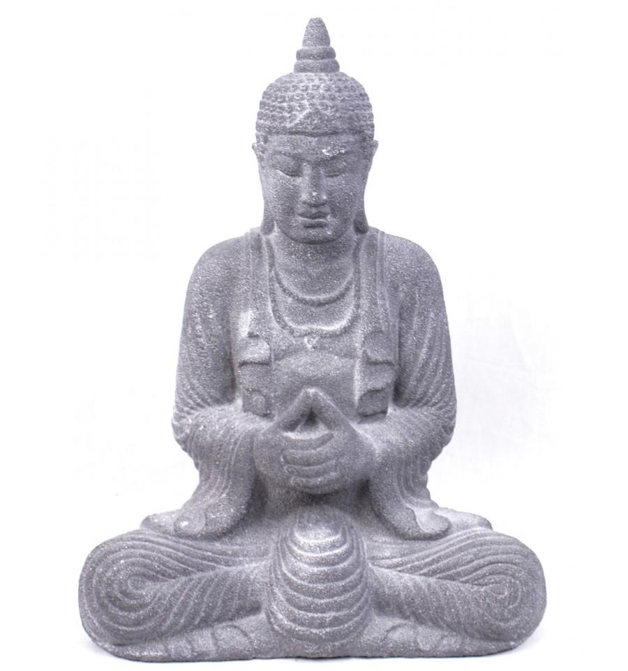 statue de bouddha en pierre de java grise h28cm ebay. Black Bedroom Furniture Sets. Home Design Ideas