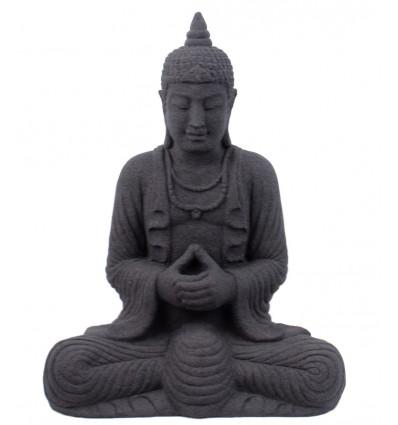 Buddha Statue in black stone, deco ethnic asian thailand.