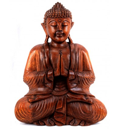 Large statue Buddha sitting hands clasped in wood, deco-buddhist.