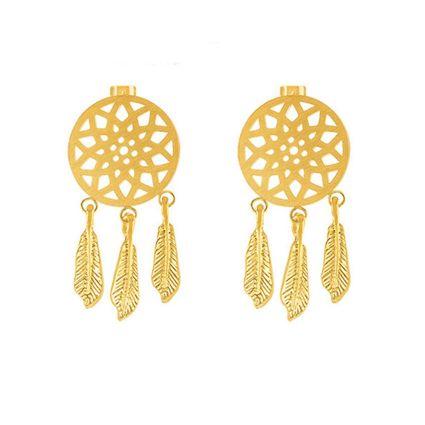 Boucles d'oreilles attrape-rêves en acier doré