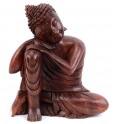 Statuette Buddha thinker in wood. Deco import Asia.