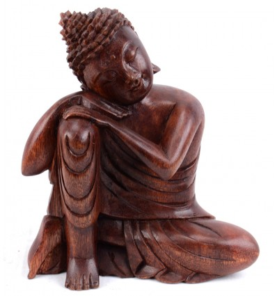 statue bouddha penseur zen bois sculpt artisanat bali. Black Bedroom Furniture Sets. Home Design Ideas