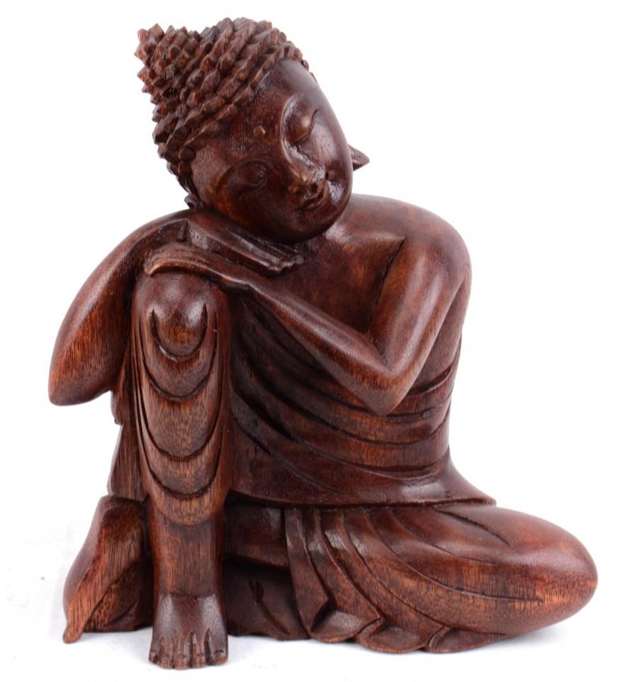statua di buddha pensatore zen in legno intagliato artigianato bali a buon mercato. Black Bedroom Furniture Sets. Home Design Ideas
