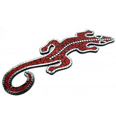 Original wall decoration. Gecko margouillat mosaic of red glass