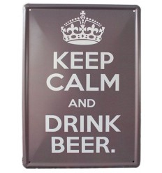 """Plaque métal enseigne style Pub anglais """"Keep calm & drink beer"""" - Livraison gratuite !!!"""