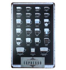 Plaque décorative murale rétro vintage, café espresso. Achat pas cher.