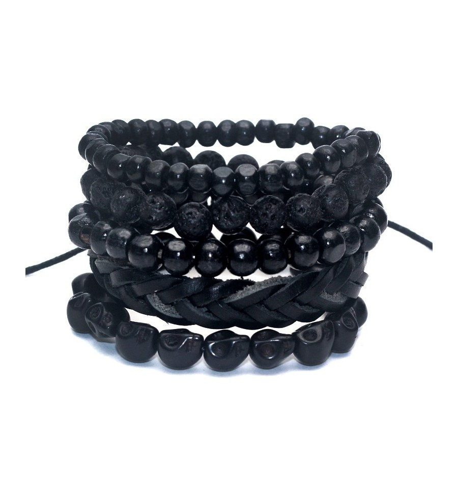 Combo 4 bracelets africains assortis pour homme.