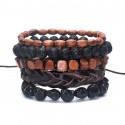 Bracelets assortis tendance mode pour homme cuir bois pierre fine.