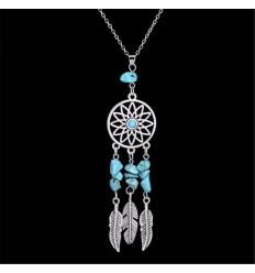 Collier Bohème avec pendentif attrape-rêves + perles en Turquoise. Livraison Gratuite !