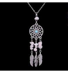 Collier Bohème avec pendentif attrape-rêves + perles en Quartz Rose