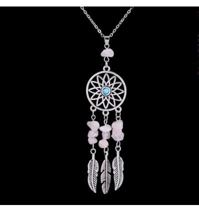 collier boh me pendentif attrape r ve perles quartz rose pas cher. Black Bedroom Furniture Sets. Home Design Ideas