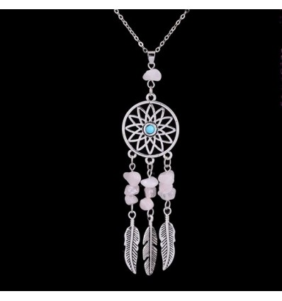 Necklace Bohemian with pendant giant dream catcher + bead in Rose Quartz. Free Shipping !