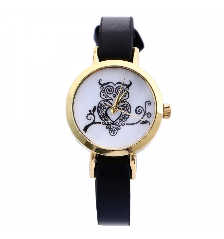 montre fantaisie femme petit cadran bracelet fin motif hibou pas cher. Black Bedroom Furniture Sets. Home Design Ideas