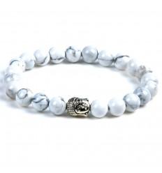Bracciale in Howlite naturale + perla di Buddha. Spedizione gratuita.