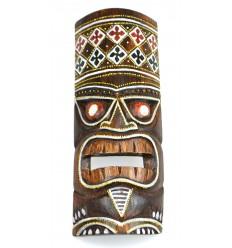 Masque Tiki h30cm en bois motif coloré. Déco Hawaï.