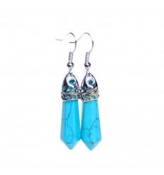 Boucles d'oreilles pendantes turquoise, fermoir plaqué argent.