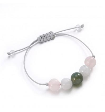 Bijou bracelet porte-bonheur amour, agate pierre de lune quartz rose.