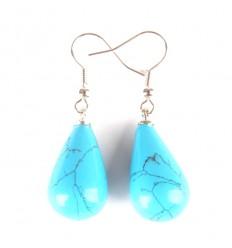 Boucles d'oreilles forme goutte en turquoise, crochet plaqué argent.