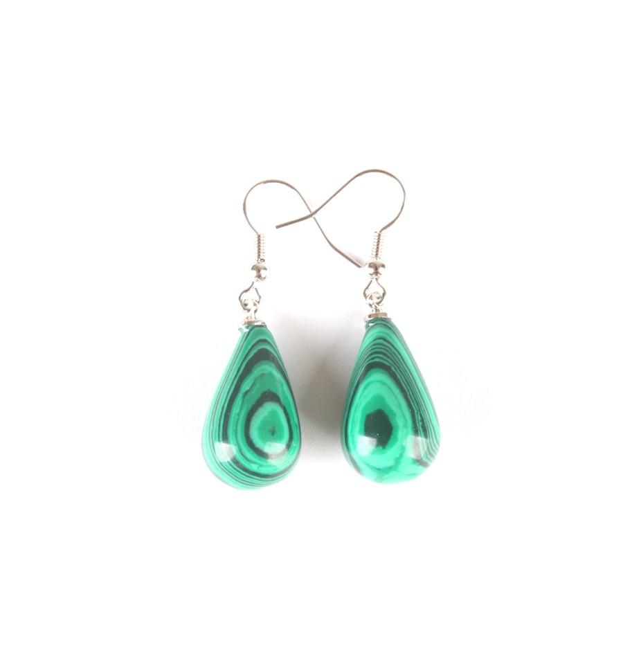 Boucles d 39 oreilles en malachite bijou de protection et clairvoyance - Fermoir boucle d oreille argent ...