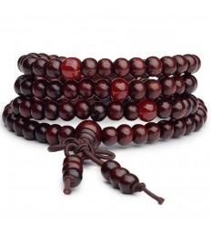 Bracciale Mala Tibetano perline in legno + nodo senza fine. Il vino di Bordeaux