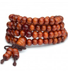 Bracelet Tibetan Mala beads wood + node without end. Colour orange